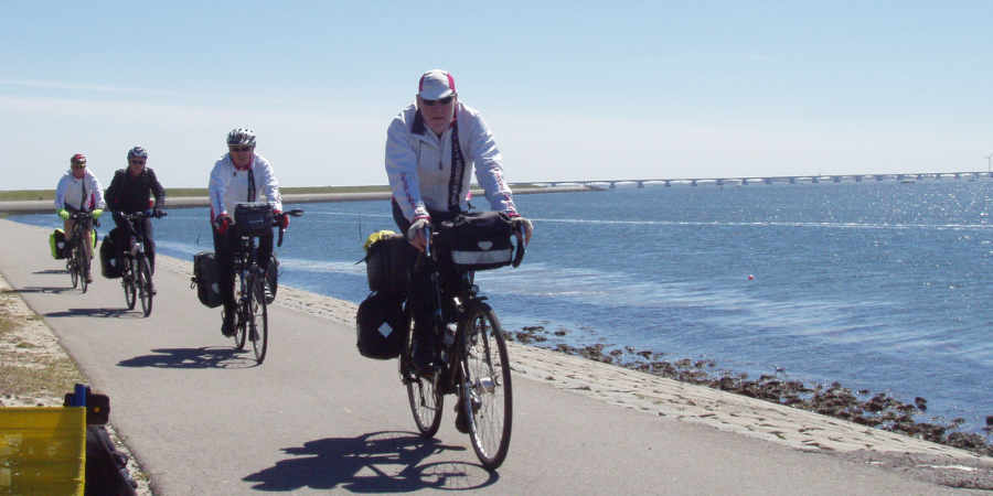 Cyclling on the Oosterschelde near Zierikzee in Zeeland